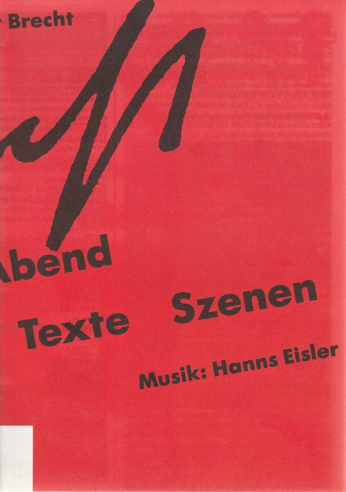 Programmheft BERTOLT BRECHT ABEND Stadttheater Bern 1989 mit Plakat