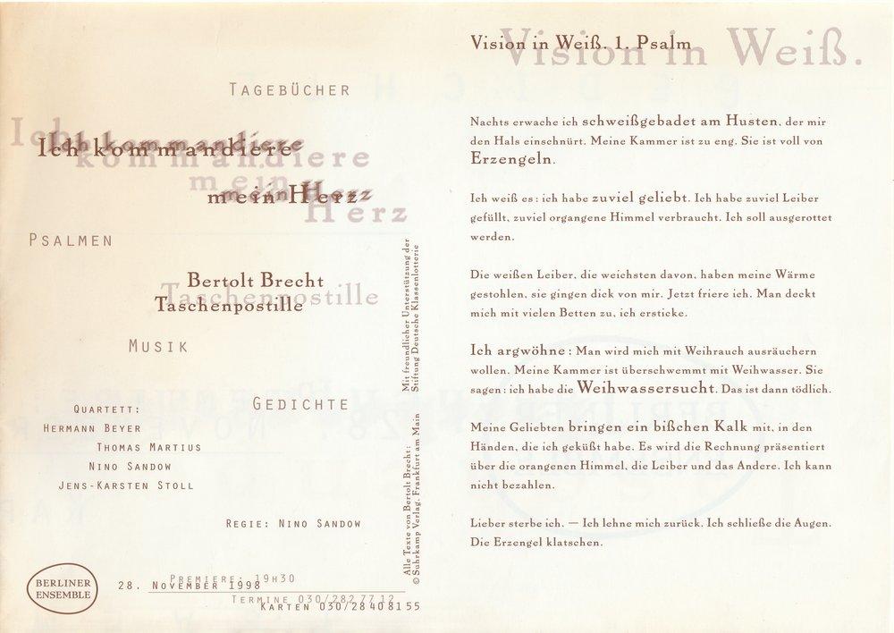 Programmheft ICH KOMMANDIERE MEIN HERZ Bertolt Brecht Berliner Ensemble 1998