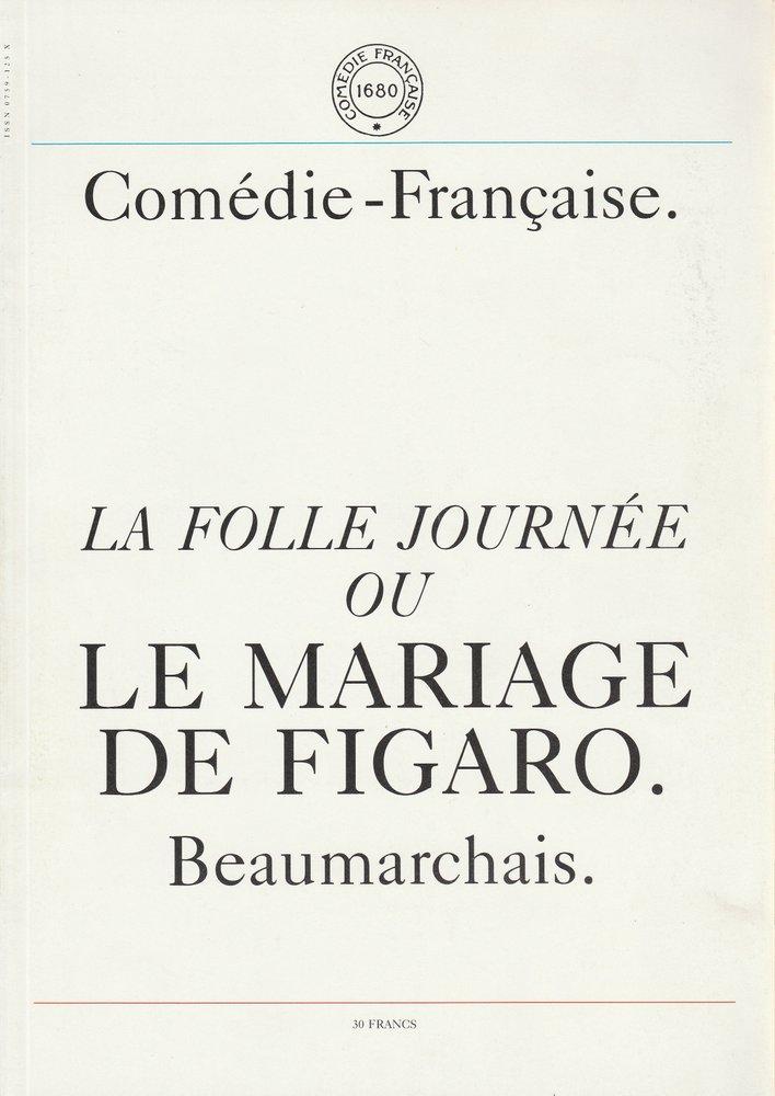 Programmheft La Folle Journee Ou Le Mariage De Figaro Comedie Francaise 1989