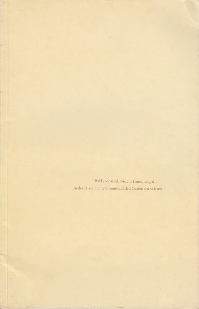 Programmheft Empedokles - Hölderlin lesen Schaubühne am Halleschen Ufer 1975
