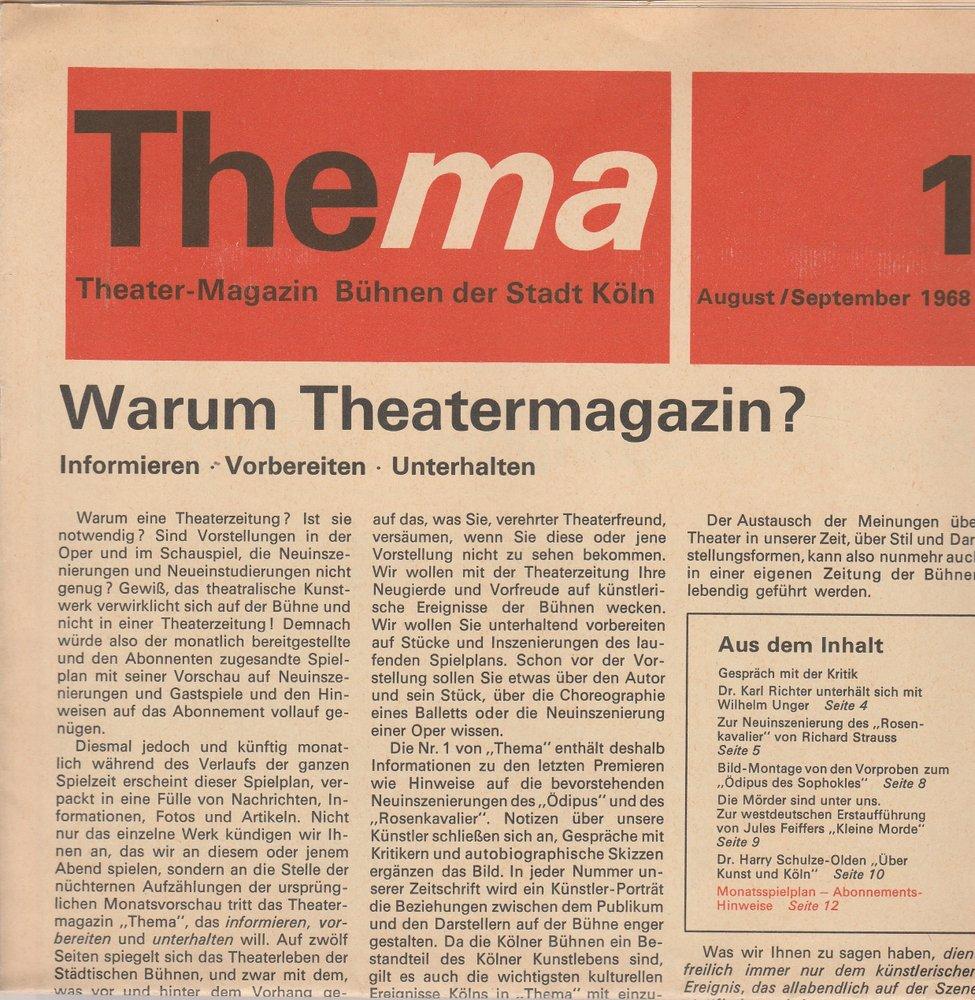 THEMA 1 August / September 1968 Theatermagazin Bühnen der Stadt Köln