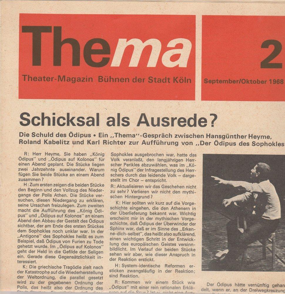 THEMA 2 September / Oktober 1968 Theatermagazin Bühnen der Stadt Köln