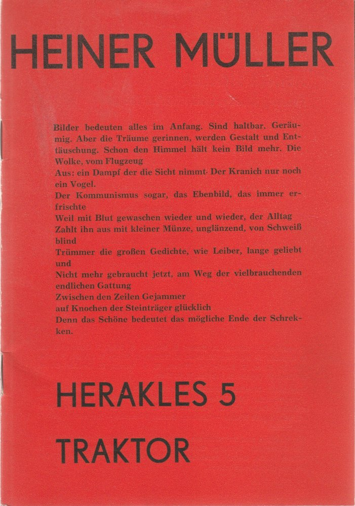 Programmheft Heiner Müller HERAKLES 5 / TRAKTOR Friedrich-Wolf-Theater 1975