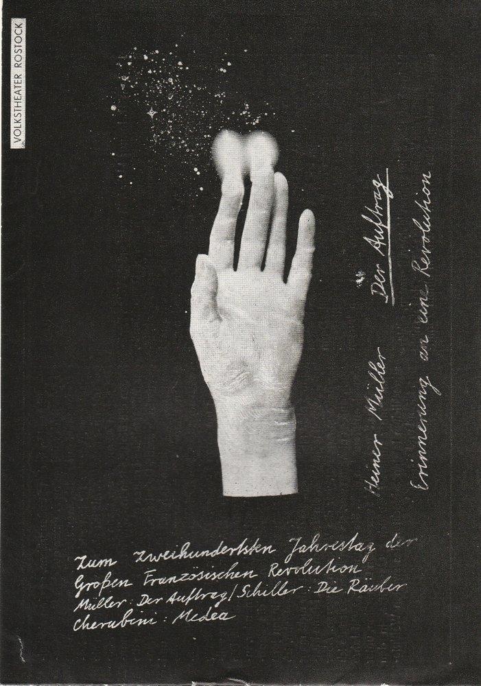 Programmheft Heiner Müller DER AUFTRAG Volkstheater Rostock DDR 1989