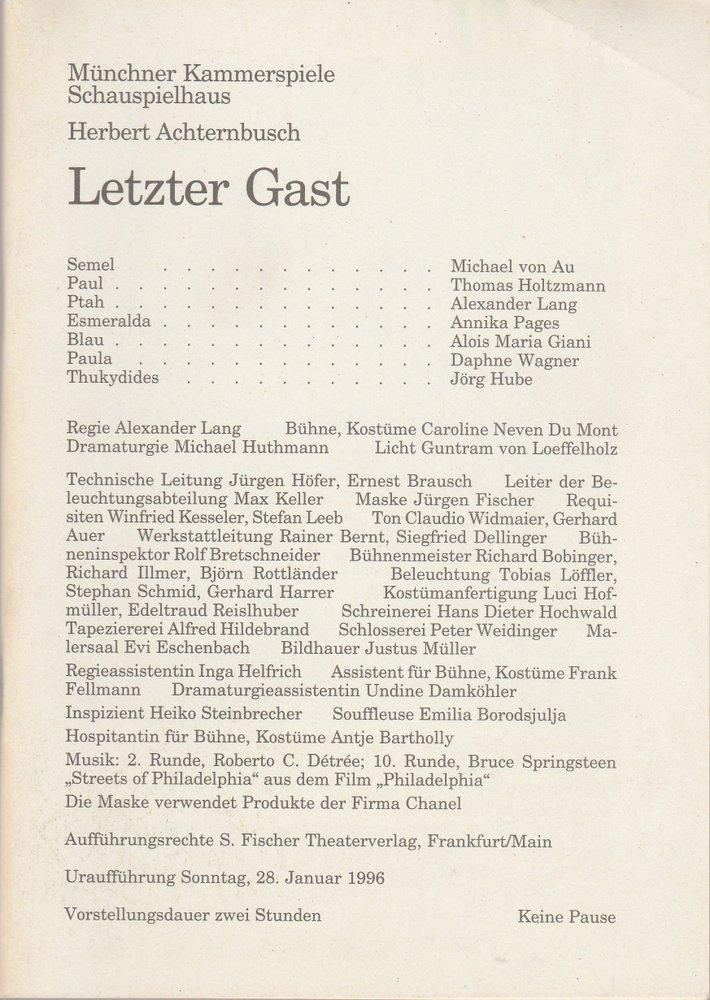 Programmheft Letzter Gast von Herbert Achternbusch Münchner Kammerspiele 1996