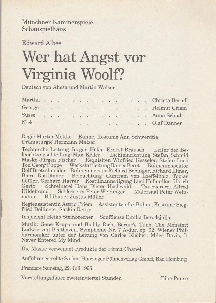 Programmheft Wer hat Angst vor Virginia Woolf ? Münchner Kammerspiele 1995
