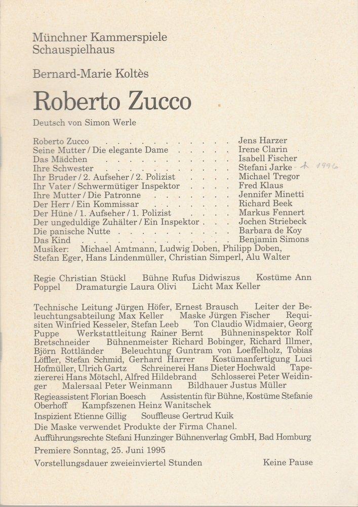 Programmheft B.-M. Koltes Roberto Zucco Münchner Kammerspiele 1995