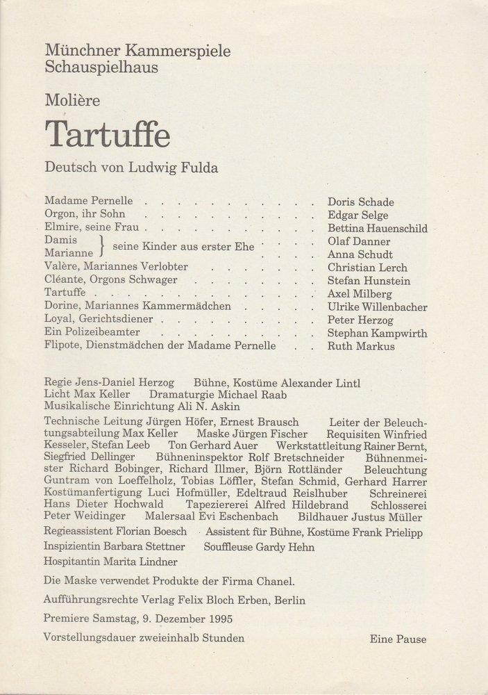 Programmheft Tartuffe von Moliere Münchner Kammerspiele Schauspielhaus 1995