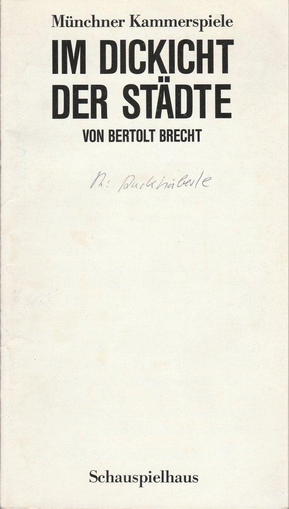 Programmheft Bertolt Brecht Im Dickicht der Städte Münchner Kammerspiele 1988