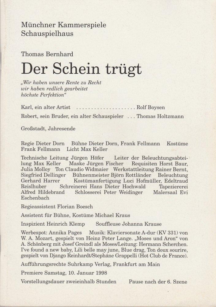 Programmheft DER SCHEIN TRÜGT von Thomas Bernhard Münchner Kammerspiele 1998
