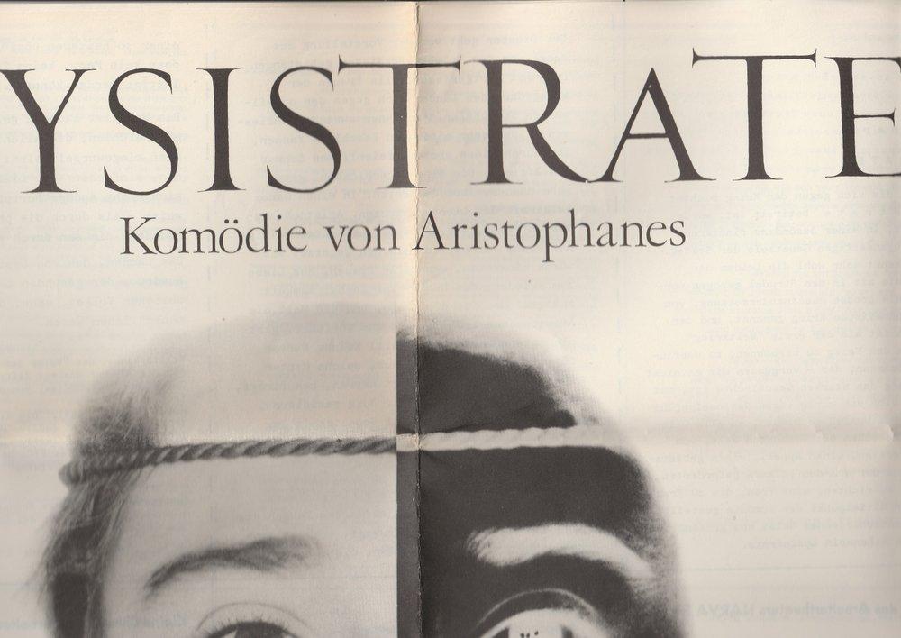 Programmheft LYSISTRATE Aristophanes Arbeitertheater NARVA 1982
