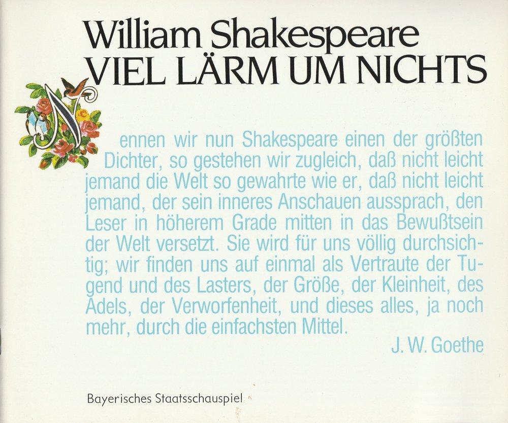 Programmheft Shakespeare Viel Lärm um nichts Bayerisches Staatsschauspiel 1983