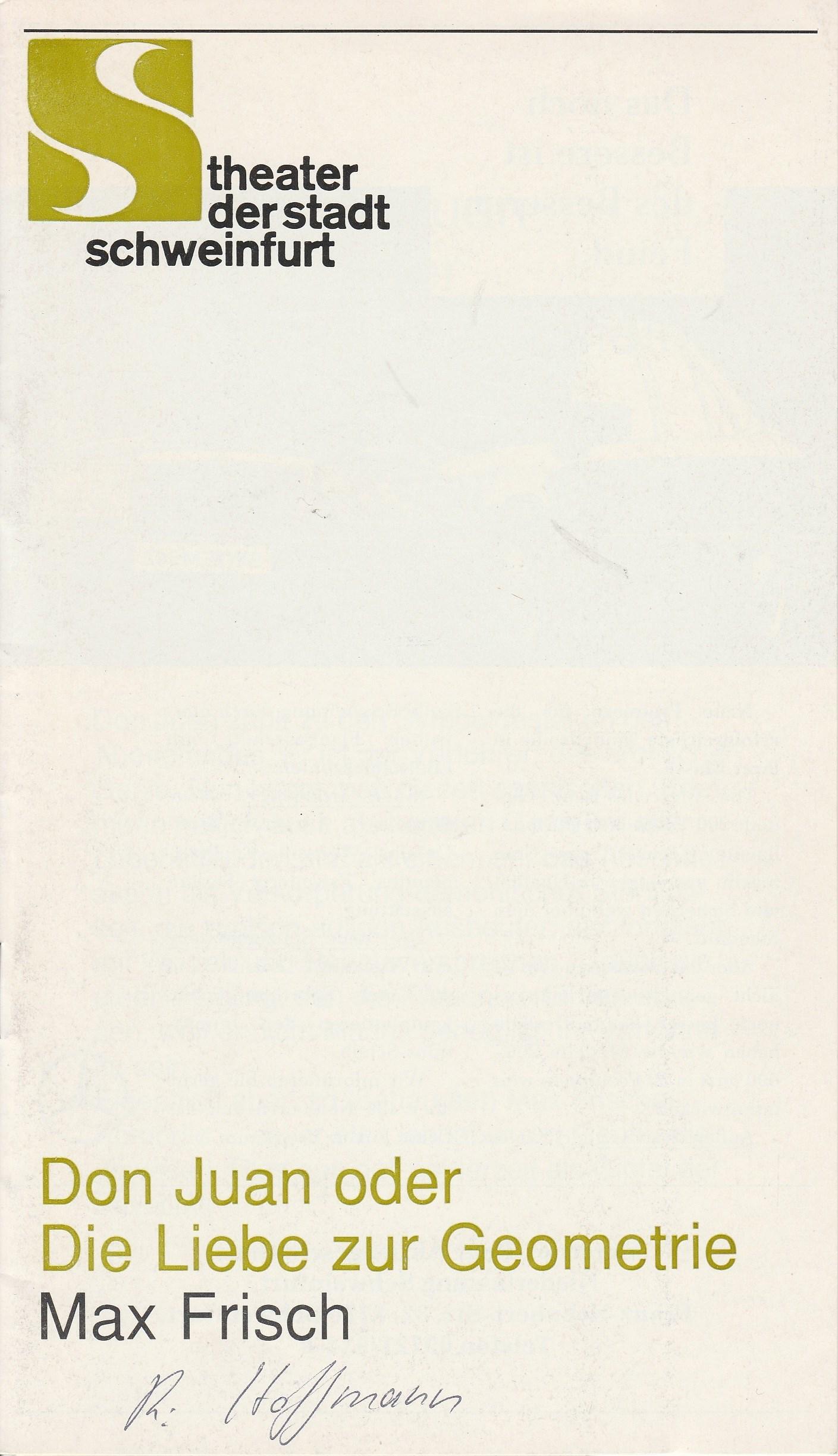 Programmheft Don Juan oder Die Liebe zur Geometrie von Max Frisch 1991