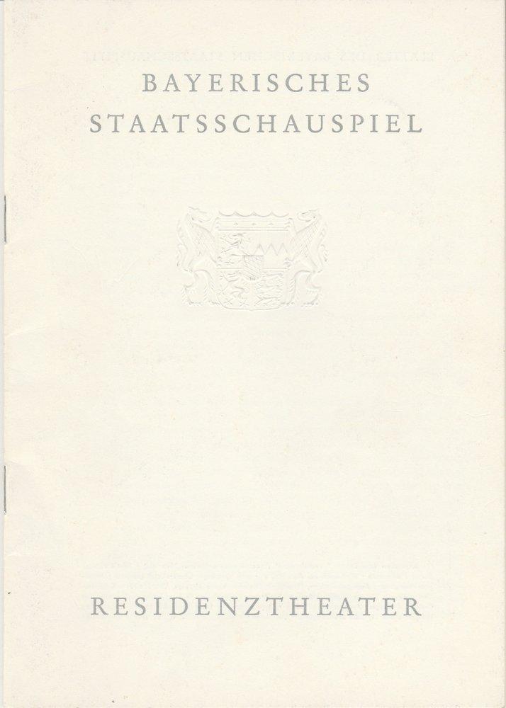 Programmheft Jean Anouilh BECKET ODER DIE EHRE GOTTES Residenztheater 1961