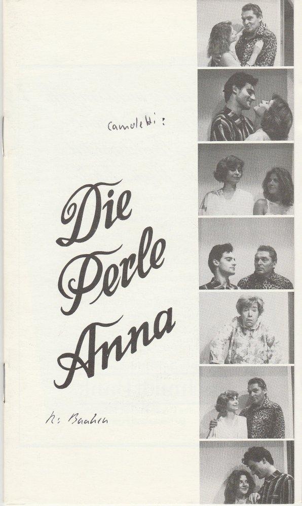 Programmheft Marc Camoletti: DIE PERLE ANNA Städtebundtheater Hof 1986