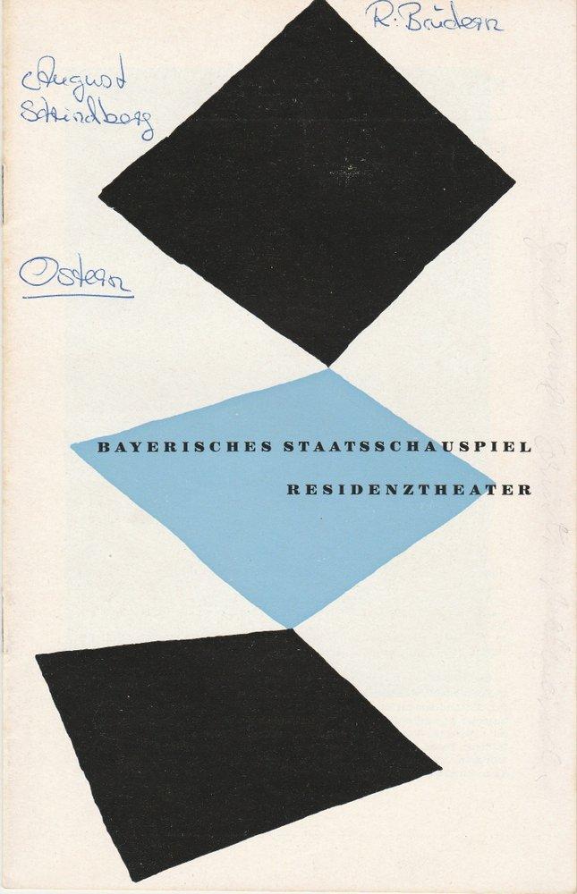 Programmheft August Strindberg: OSTERN Bayerisches Staatsschauspiel 1957