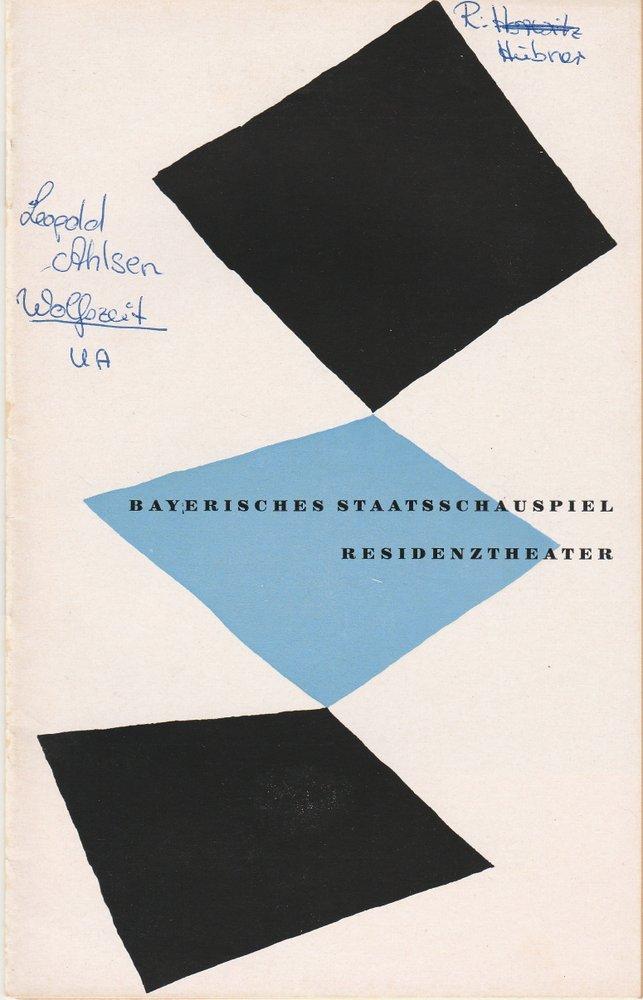 Programmheft Uraufführung Leopold Ahlsen WOLFSZEIT Residenztheater 1954