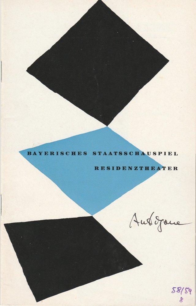 Programmheft Sophokles ANTIGONE Residenztheater 1959