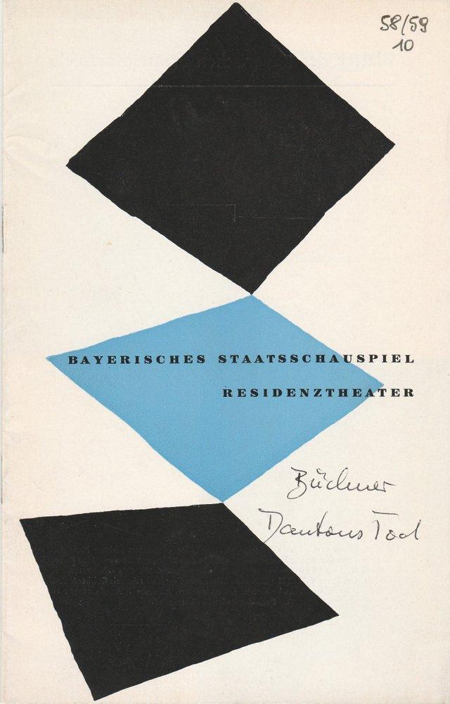 Programmheft Georg Büchner DANTONS TOD Residenztheater 1959