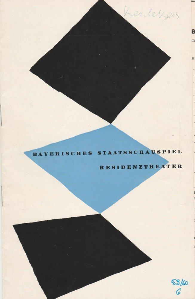 Programmheft Klabund DER KREIDEKREIS Residenztheater 1960