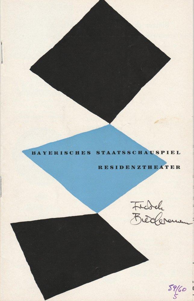 Programmheft Max Frisch BIEDERMANN UND DIE BRANDSTIFTER Residenztheater 1960