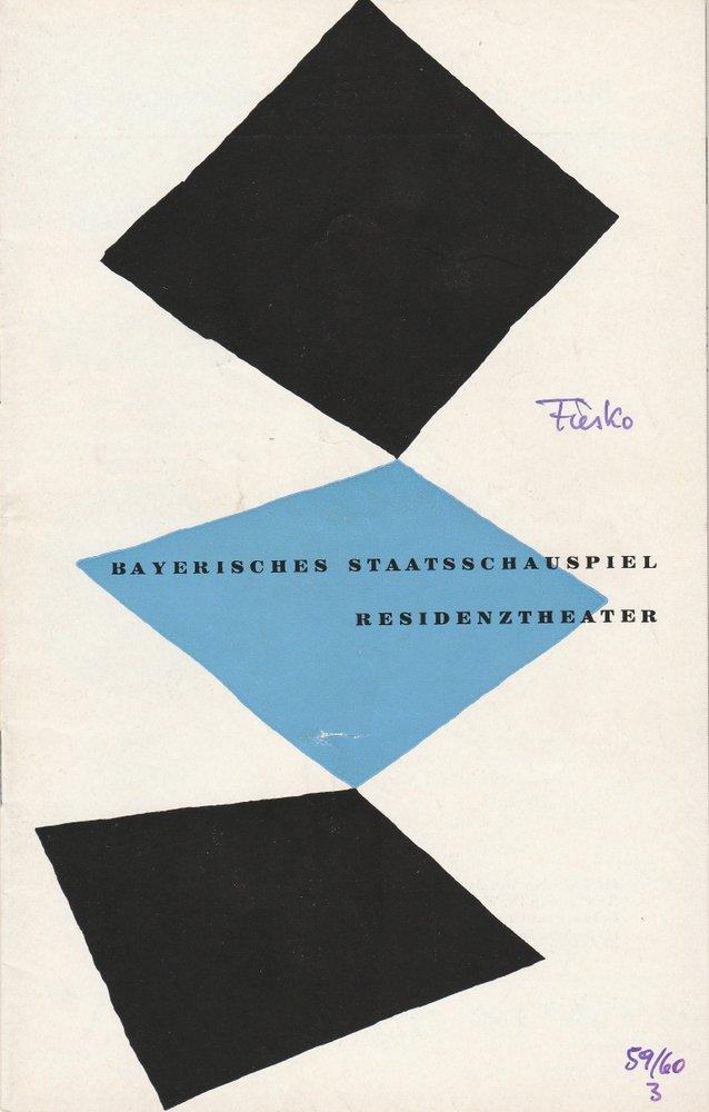 Programmheft DIE VERSCHWÖRUNG DES FIESKO ZU GENUA Residenztheater 1959