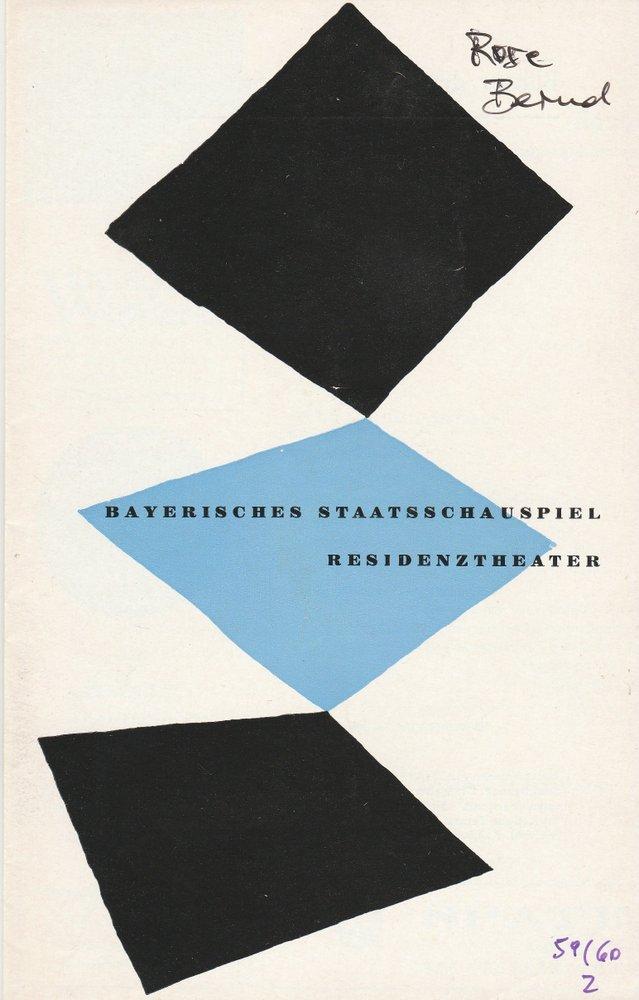 Programmheft Gerhart Hauptmann ROSE BERND Residenztheater 1959