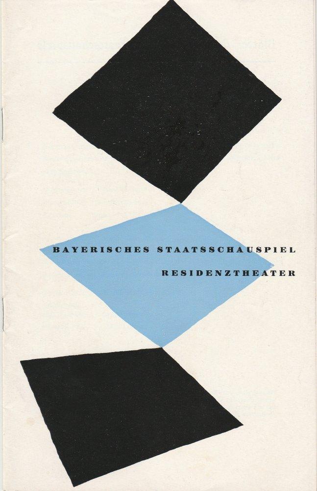 Programmheft DIE KLUGE NÄRRIN Bayerisches Staatsschauspiel 1959