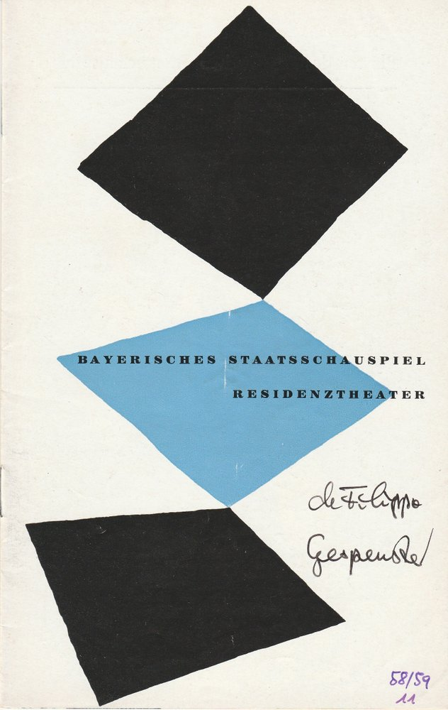 Programmheft NEAPOLITANISCHE GESPENSTER Bayerisches Staatsschauspiel 1959