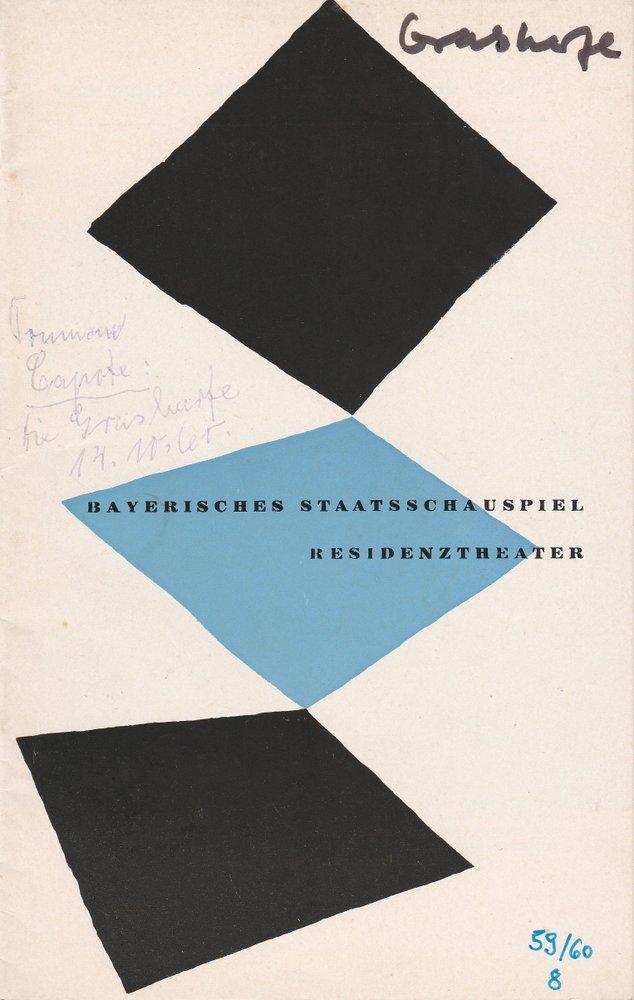 Programmheft Truman Capote DIE GRASHARFE Bayerisches Staatsschauspiel 1960