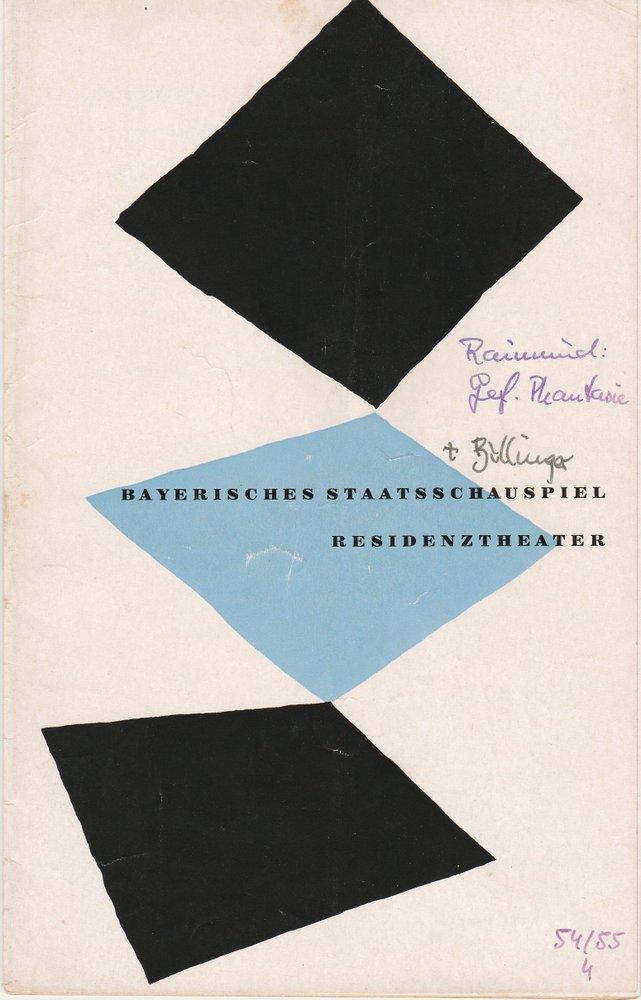 Programmheft Ferdinand Raimund DIE GEFESSELTE PHANTASIE Residenztheater 1954