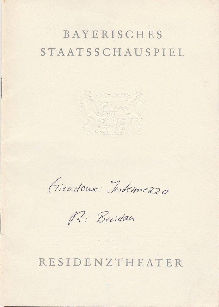 Programmheft Jean Giraudoux INTERMEZZO Residenztheater 1961