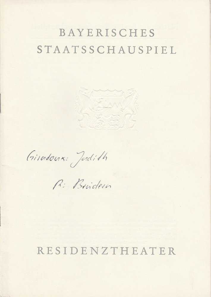 Programmheft Jean Giraudoux JUDITH Residenztheater 1962