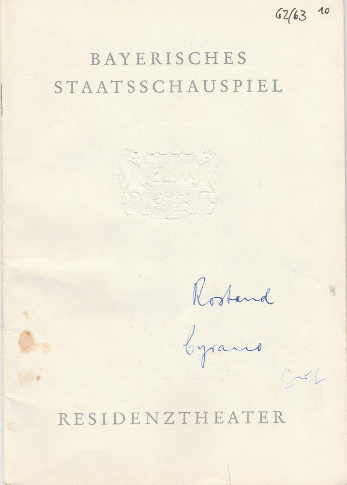 Programmheft Edmond Rostand CYRANO VON BERGERAC Residenztheater 1963