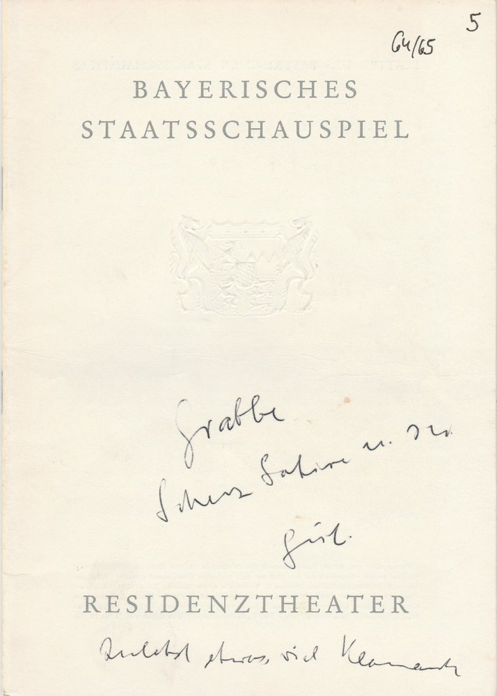 Programmheft SCHERZ, SATIRE, IRONIE UND TIEFERE BEDEUTUNG Residenztheater 1965