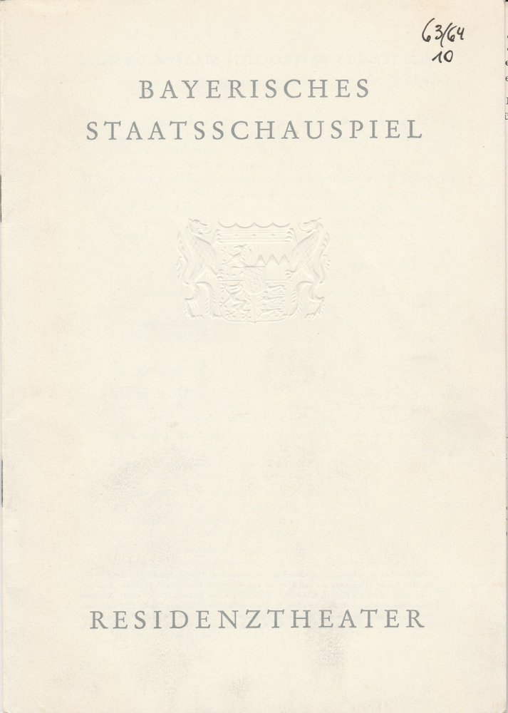 Programmheft Franz Molnar LILIOM Residenztheater 1964
