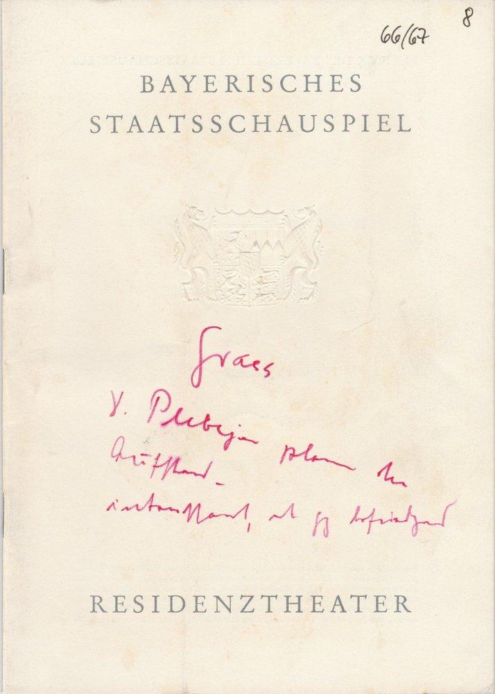 Programmheft Günter Grass DIE PLEBEJER PROBEN DEN AUFSTAND Residenztheater 1967