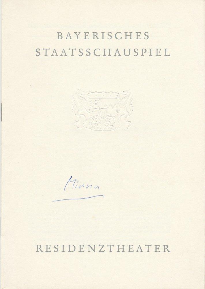 Programmheft Lessing MINNA VON BARNHELM Residenztheater 1962