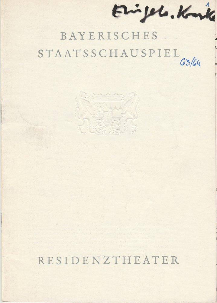 Programmheft Moliere DER EINGEBILDETE KRANKE Residenztheater 1963