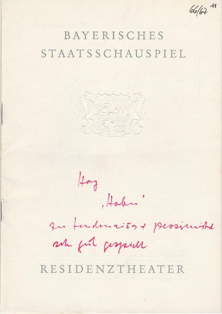 Programmheft Julius Hay HABEN Residenztheater 1967