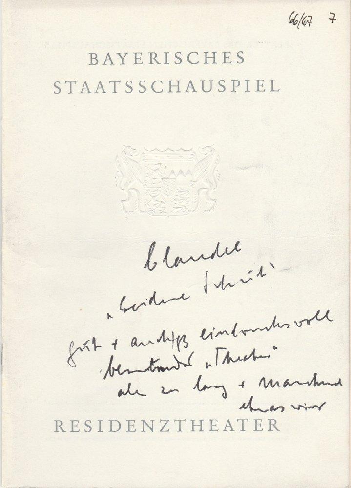 Programmheft Paul Claudel DER SEIDENE SCHUH Residenztheater 1967