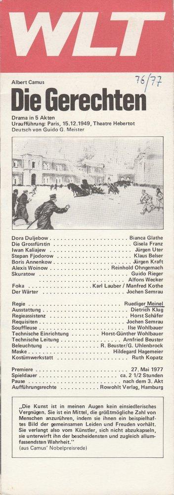 Programmheft Albert Camus DIE GERECHTEN Premiere 27. Mai 1977  WLT 1977