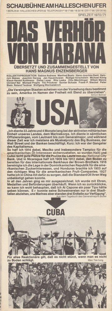 Programmheft H. M. Enzensberger DAS VERHÖR VON HABANA Schaubühne Hall. Ufer 1971