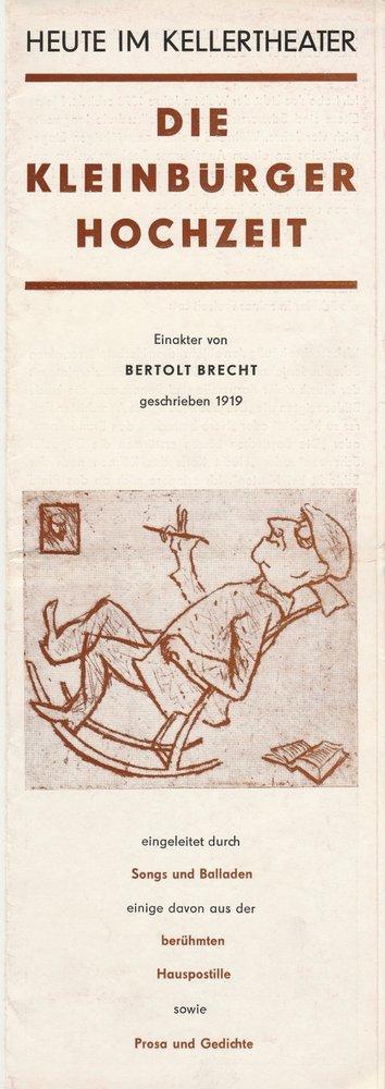 Programmheft Bertolt Brecht DIE KLEINBÜRGERHOCHZEIT Leipziger Theater 1978