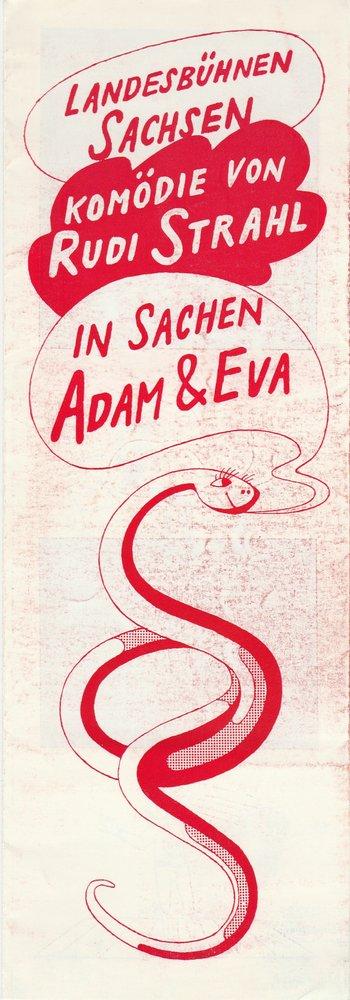 Programmheft Rudi Strahl IN SACHEN ADAM UND EVA Landesbühnen Sachsen 1972
