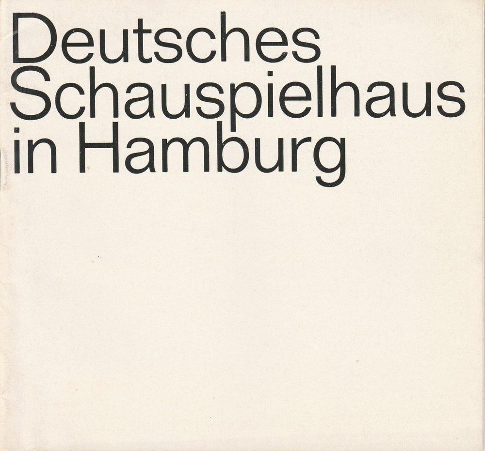 Programmheft Frank Wedekind DER LIEBESTRANK Deutsches Schauspielhaus Hmb. 1968