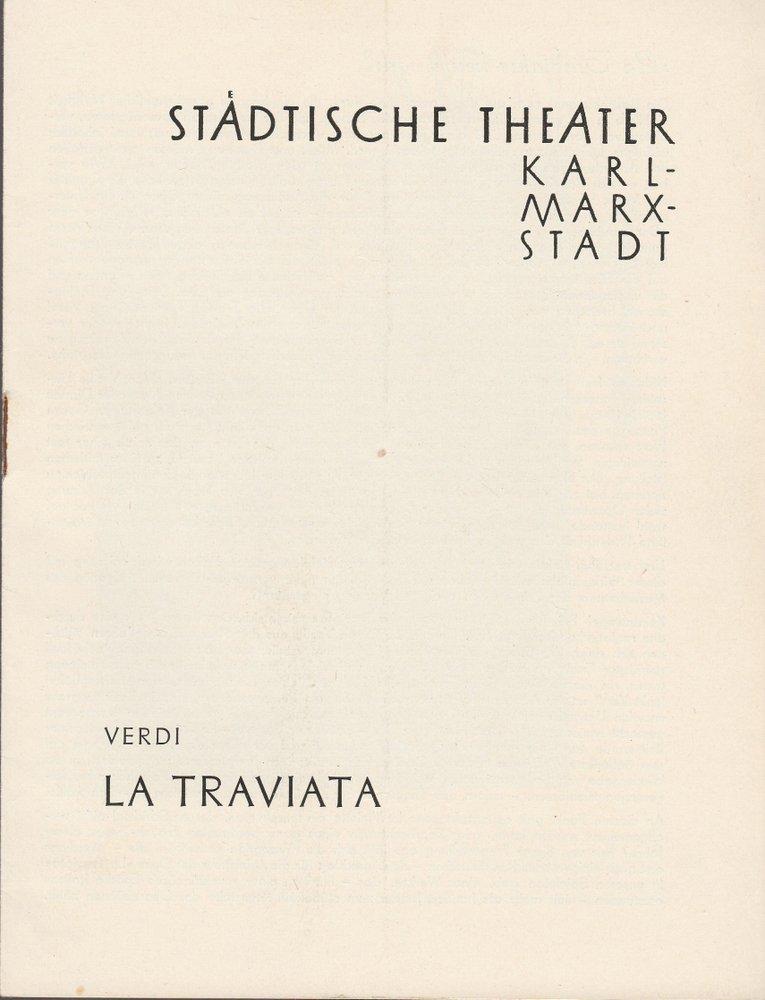 Programmheft Giuseppe Verdi LA TRAVIATA Städtische Theater Karl-Marx-Stadt 1958