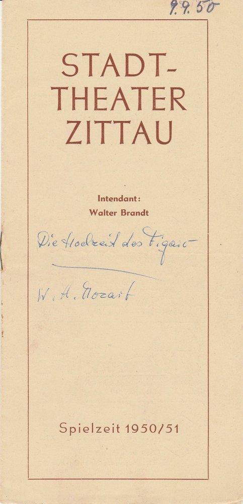 Programmheft Wolfgang A. Mozart DIE HOCHZEIT DES FIGARO Stadttheater Zittau 1950