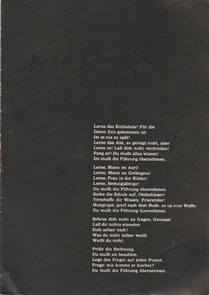 Programmheft B. Brecht MUTTER COURAGE UND IHRE KINDER Stadttheater Zittau 1958