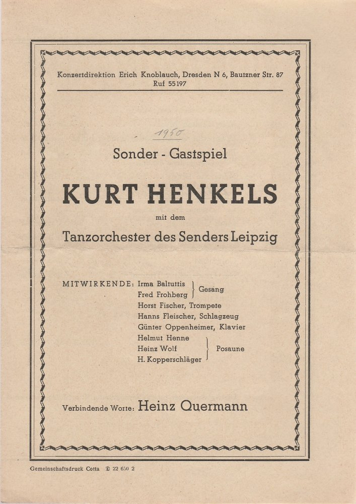 Programmheft KURT HENKELS / Tanzorchester Konzertdirektion Erich Knoblauch 1950